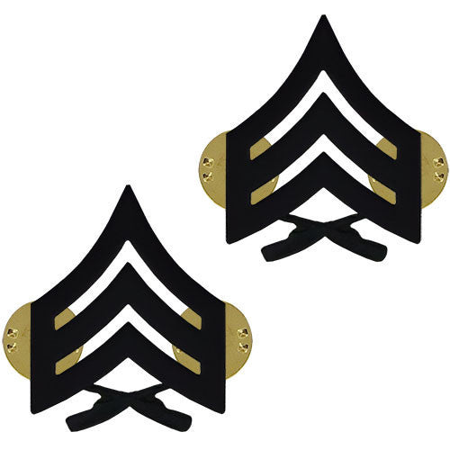 Marine Corps Chevron: Sergeant - black metal, solid brass
