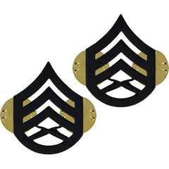 Marine Corps Chevron: Staff Sergeant - black metal, solid brass