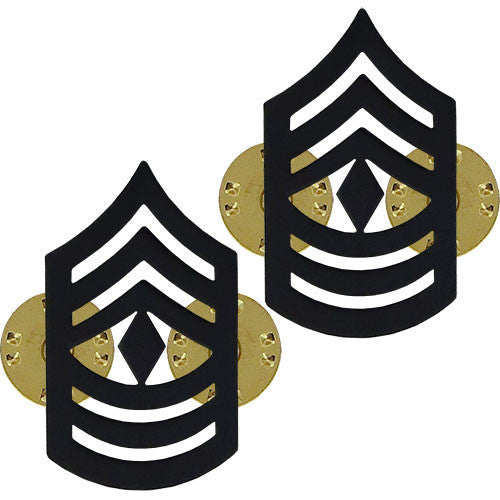 Marine Corps Chevron: First Sergeant - black metal, solid brass