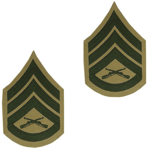 Marine Corps Chevron: Staff Sergeant - green embroidered on khaki, male