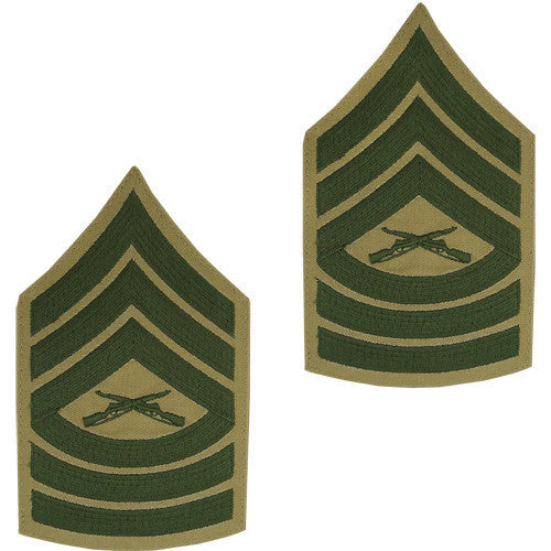 Marine Corps Chevron: Master Sergeant - green embroidered on khaki, male