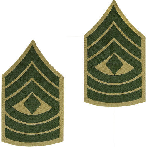 Marine Corps Chevron: First Sergeant - green embroidered on khaki, male