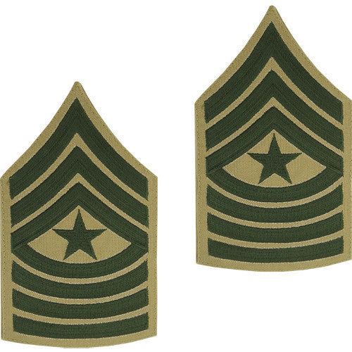 Marine Corps Chevron: Sergeant Major - green embroidered on khaki, male
