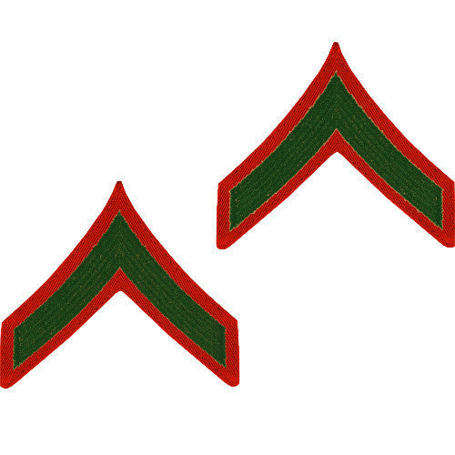Marine Corps Chevron: Private First Class - green embroidered on red, male