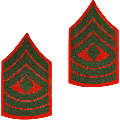 Marine Corps Chevron: First Sergeant - green embroidered on red, male
