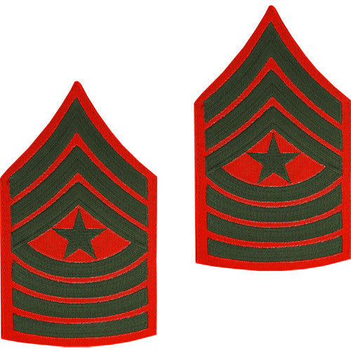 Marine Corps Chevron: Sergeant Major - green embroidered on red, male