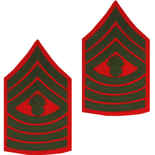 Marine Corps Chevron: Master Gunnery Sergeant - green on red for male