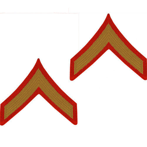 Marine Corps Chevron: Private First Class - gold embroidered on red, male