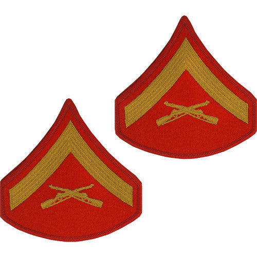 Marine Corps Chevron: Lance Corporal - gold embroidered on red, male