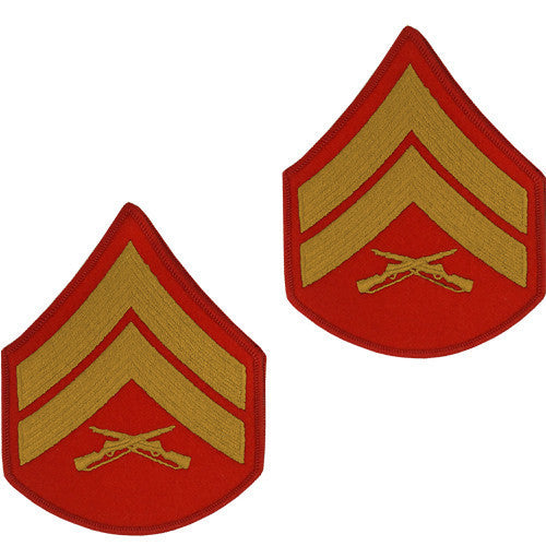 Marine Corps Chevron: Corporal - gold embroidered on red, male