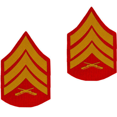 Marine Corps Chevron: Sergeant - gold embroidered on red, male