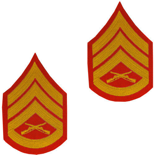 Marine Corps Chevron: Staff Sergeant - gold embroidered on red, male