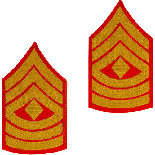 Marine Corps Chevron: First Sergeant - gold embroidered on red, male