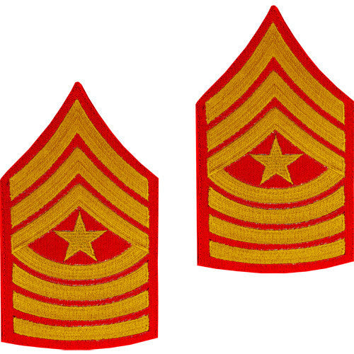 Marine Corps Chevron: Sergeant Major - gold embroidered on red, male