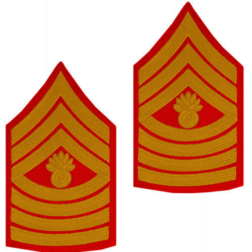 Marine Corps Chevron: Master Gunnery Sergeant - gold on red for male