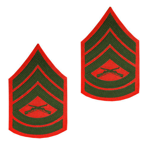 Marine Corps Chevron: Gunnery Sergeant - green embroidered on red, female