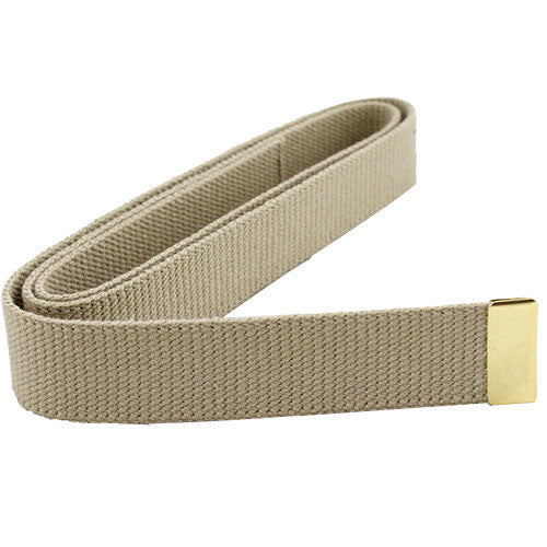 Navy Belt: Khaki Cotton with 24k Gold Tip - male