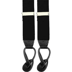 Air Force Suspenders with Leather Ends - black