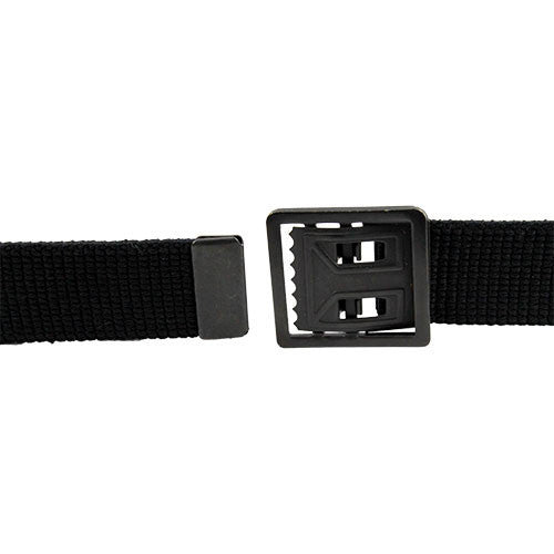 Army Belt: Black Cotton with Open Face Buckle and Tip - male