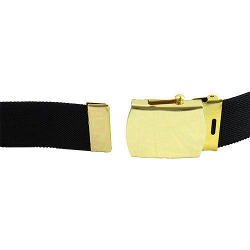 Army Belt: Black Cotton with 22k Gold Flash Buckle and Tip