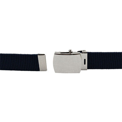 Air Force Belt: Blue Elastic with Mirror Buckle and Tip - female