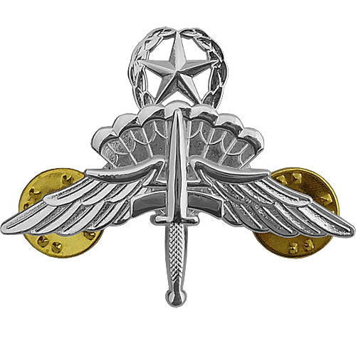 Army Badge: Free Fall Master Jump Wings Halo - mirror finish