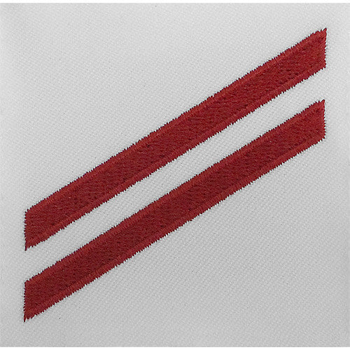 Navy E2 Rating Badge: Fireman Apprentice - red chevrons on white CNT