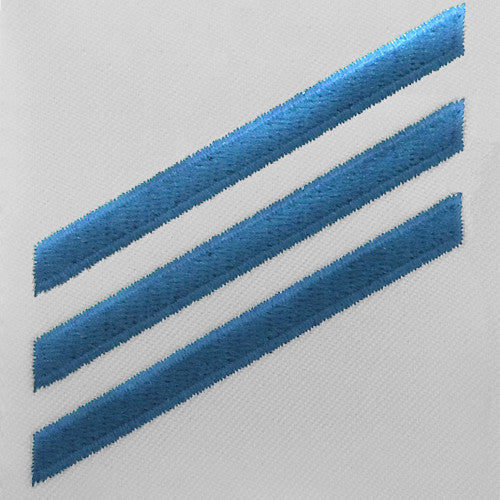 Navy E3 Rating Badge: Constructionman - blue chevrons on white CNT