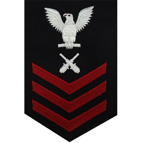 Navy E6 FEMALE Rating Badge: Gunner's Mate - blue