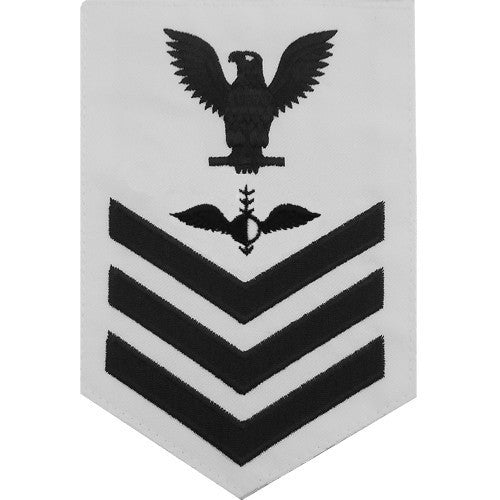 Navy E6 Rating Badge: Aerographer's Mate - white