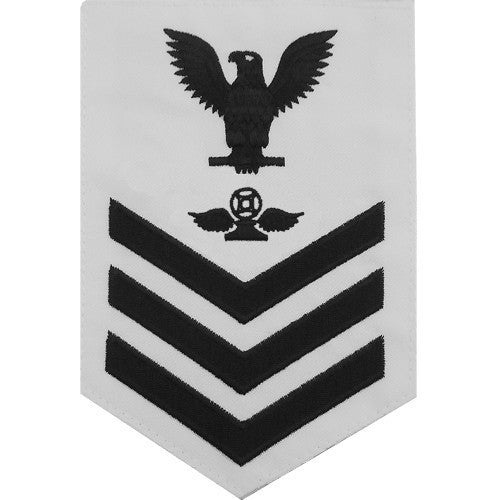 Navy E6 Rating Badge: Air Traffic Control - white