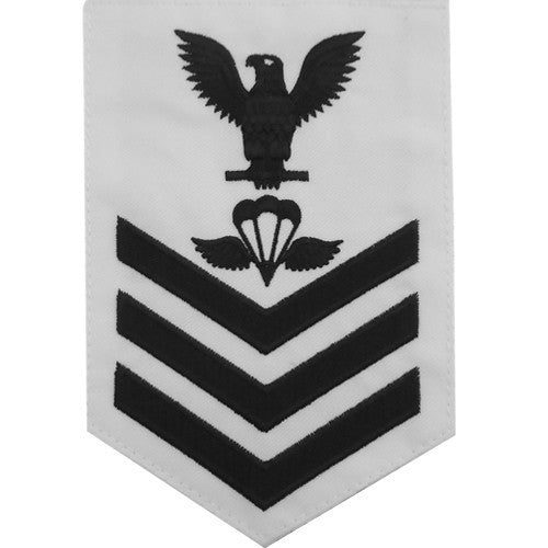 Navy E6 Rating Badge: Aircrew Survival Equipmentman - white