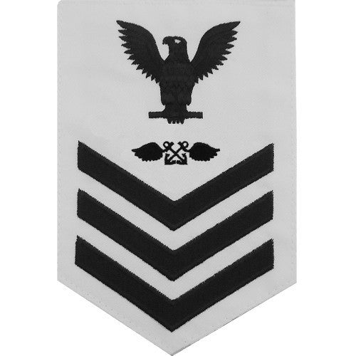 Navy E6 MALE Rating Badge: Aviation Boatswain's Mate - white