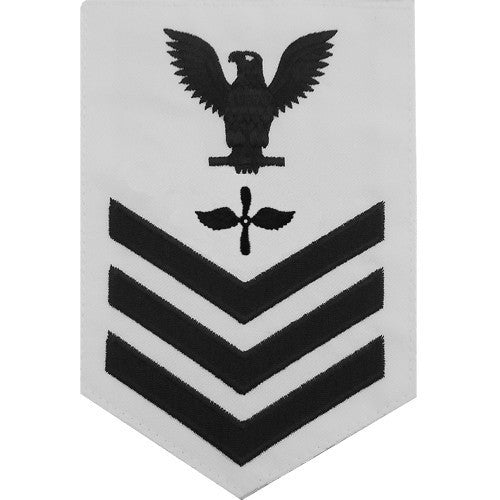 Navy E6 Rating Badge: Aviation Machinist's Mate - white