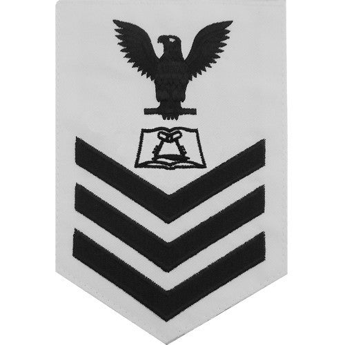 Navy E6 Rating Badge: Culinary Specialist - white