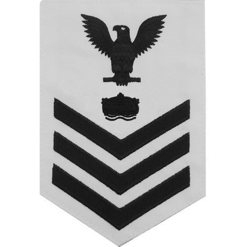 Navy E6 MALE Rating Badge: Mineman - white