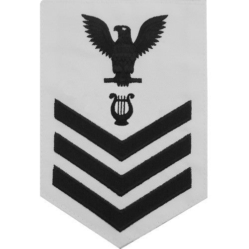 Navy E6 Rating Badge: Musician - white