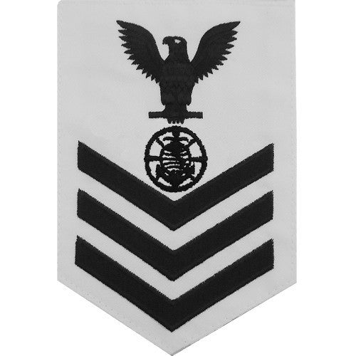 Navy E6 Rating Badge: Religious Programs Specialist - white