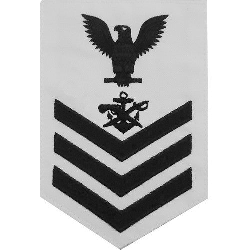 Navy E6 MALE Rating Badge: Special Warfare Boat Operator - white