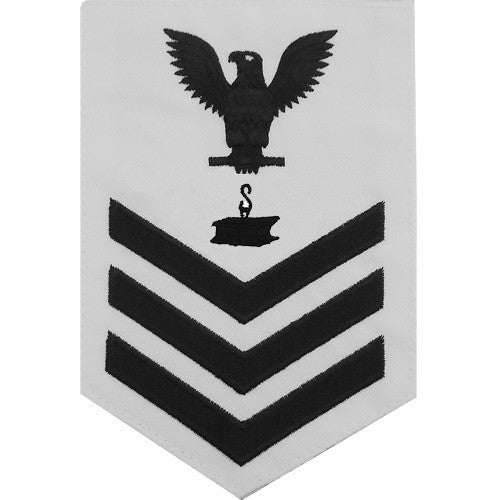 Navy E6 Rating Badge: Steelworker - white