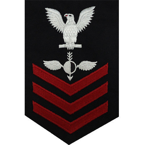 Navy E6 FEMALE Rating Badge: Aerographer's Mate - blue