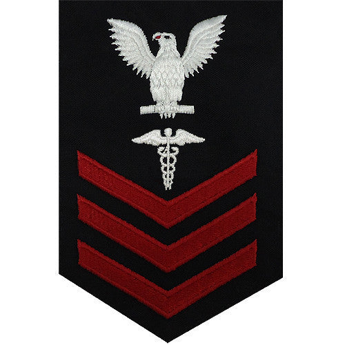 Navy E6 Rating Badge: Hospital Corpsman - blue