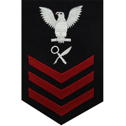 Navy E6 FEMALE Rating Badge: Intelligence Specialist - blue