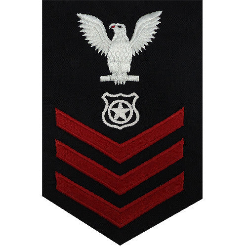 Navy E6 FEMALE Rating Badge: Master At Arms - blue
