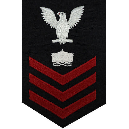 Navy E6 FEMALE Rating Badge: Mineman - blue