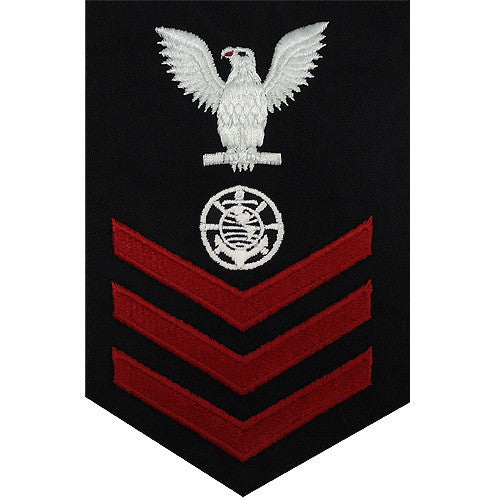 Navy E6 FEMALE Rating Badge: Religious Programs Specialist - blue