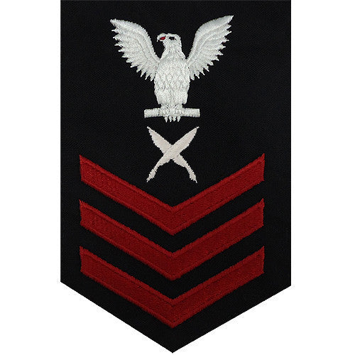 Navy E6 FEMALE Rating Badge: Yeoman - blue