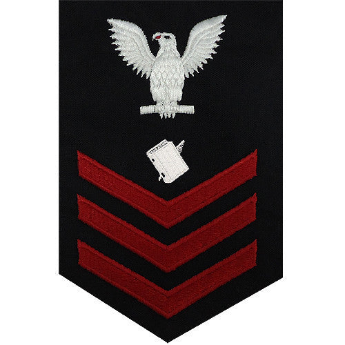 Navy E6 FEMALE Rating Badge: Personnelman - blue