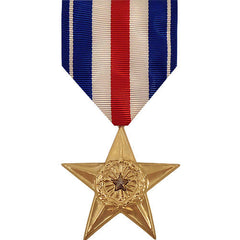 Full Size Medal: Silver Star - 24k Gold Plated