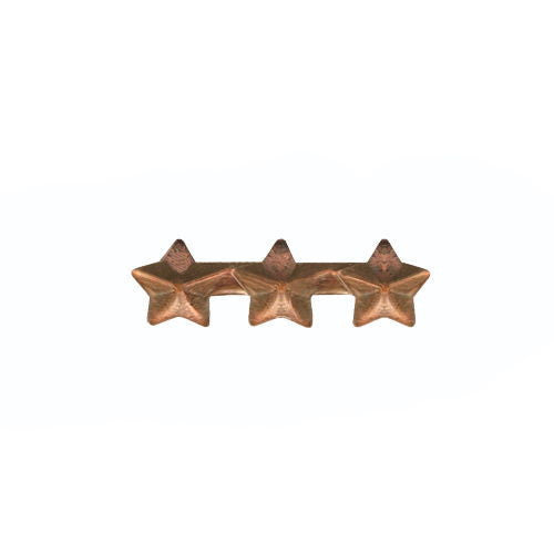 NO PRONG Ribbon Attachments: Three Bronze Stars Mounted on a Bar - bronze